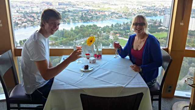Sparkling wine on top of the tower in the revolving restaurant!