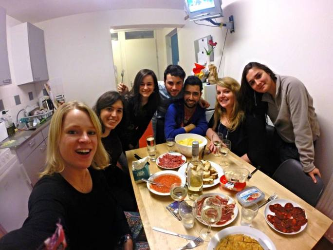 Having a delicious traditional Spanish dinner with my housemates